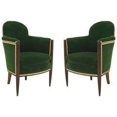Pair of French Art Deco Green Velvet-Upholstered Mahogany Bergeres