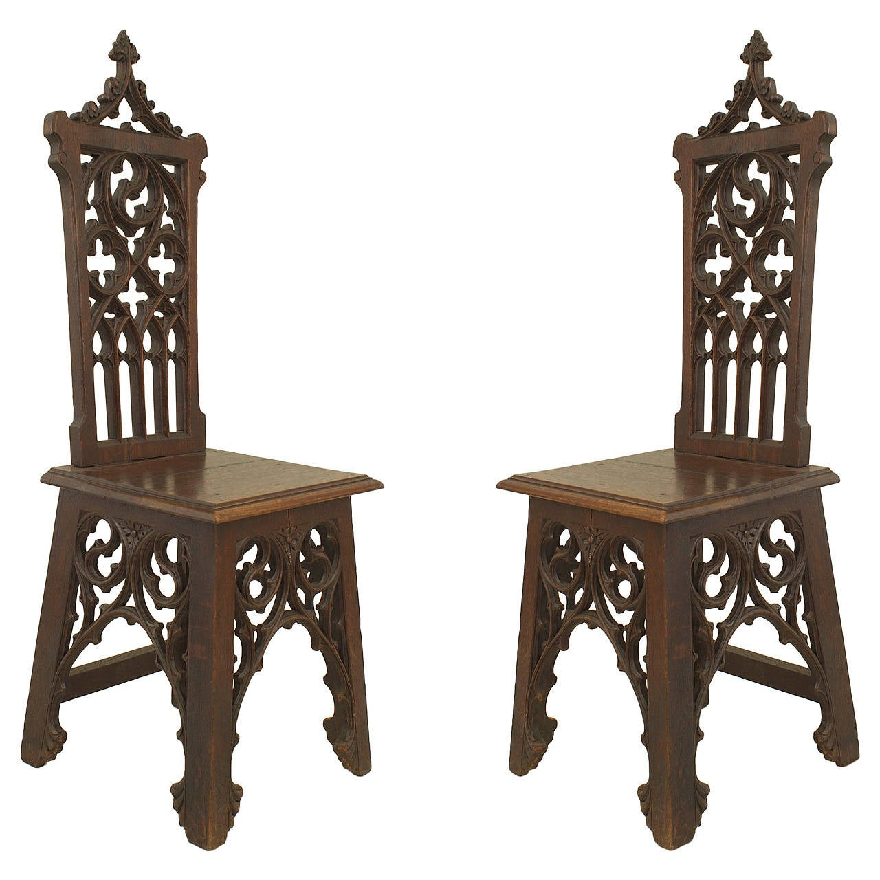 Pair Of English Gothic Style Side Chairs For Sale At 1stdibs