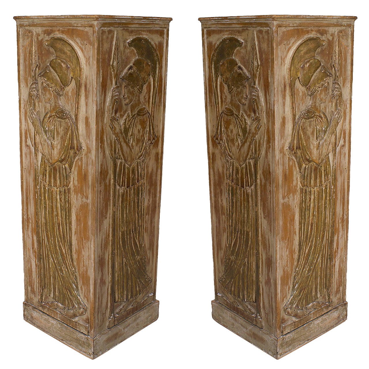 Large Pair of 1940s Italian Neoclassical Style Pedestals Attributed to Palladio
