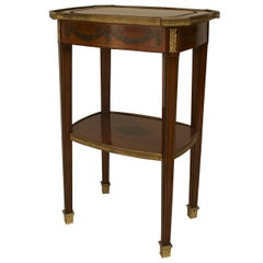 French Louis XVI Style Bronze-Trimmed Mahogany End Table