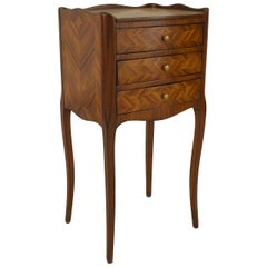 Small Turn of the Century French Louis XV Style Tulipwood Bedside Commode