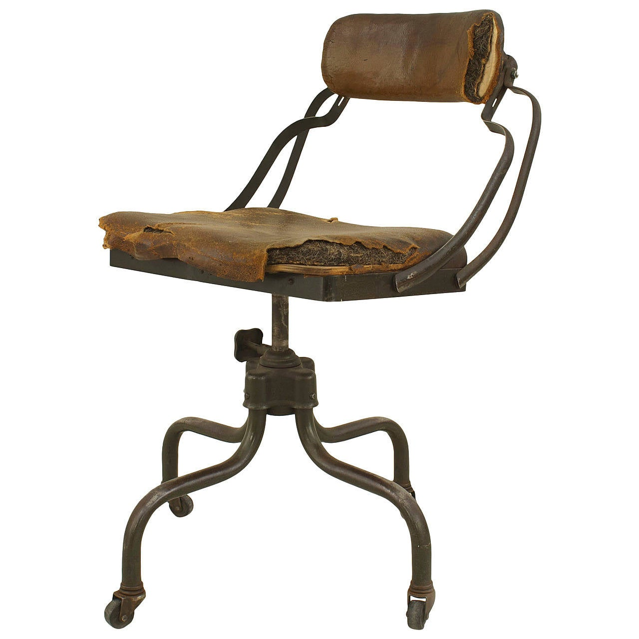 Early 20th Century American Metal And Leather Office Chair For Sale At 1stdibs