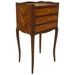 Turn of the Century French Louis XV Style Tulipwood Bedside Commode