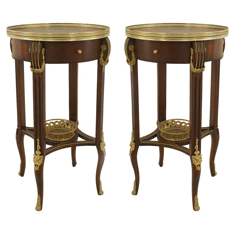 Pair of French Louis XVI Style Round End Tables For Sale