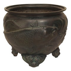 Large 19th Century Japanese Meiji Period Kyoto School Bronze Urn