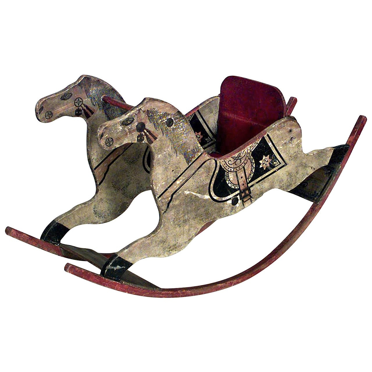 American Country Painted and Carved Wooden Rocking Horse