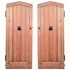 Two 19th Century English Gothic Revival Arched Oak Doors