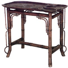 19th Century French Bamboo End Table with Carved Lily Pad Top