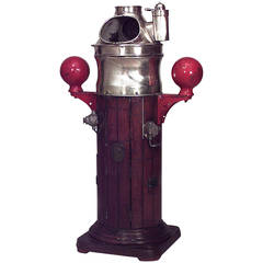 19th Century English Brass and Wood Ship Binnacle