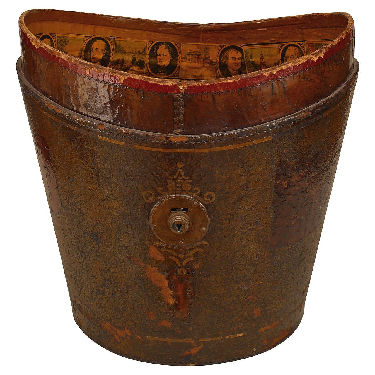 19th Century American Red Leather Top Hat Box with Decoupage Memorabilia For Sale