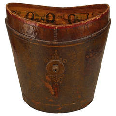 19th Century American Red Leather Top Hat Box with Decoupage Memorabilia