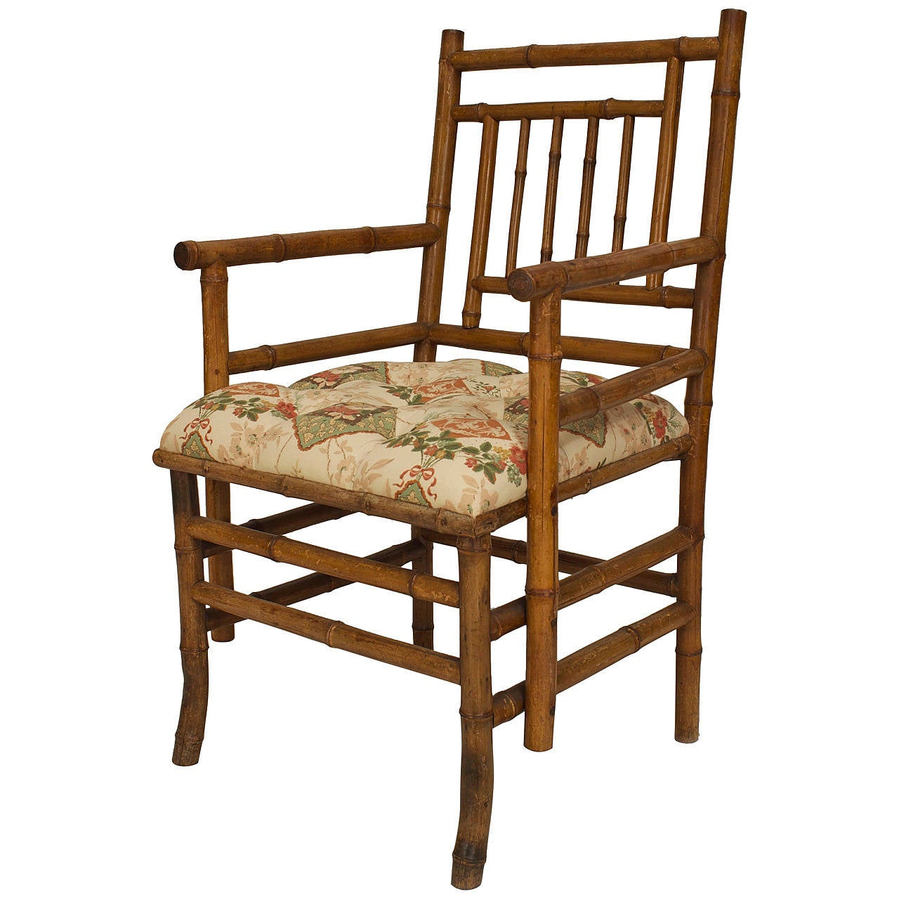 Merveilleux 19th Century French Upholstered Bamboo Armchair For Sale