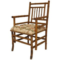 19th Century French Upholstered Bamboo Armchair