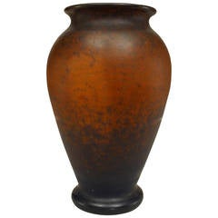 French Art Nouveau Brown Speckled Glass Vase Crafted in Nancy