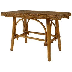 Turn of the Century American Adirondack Style Barked Center Table