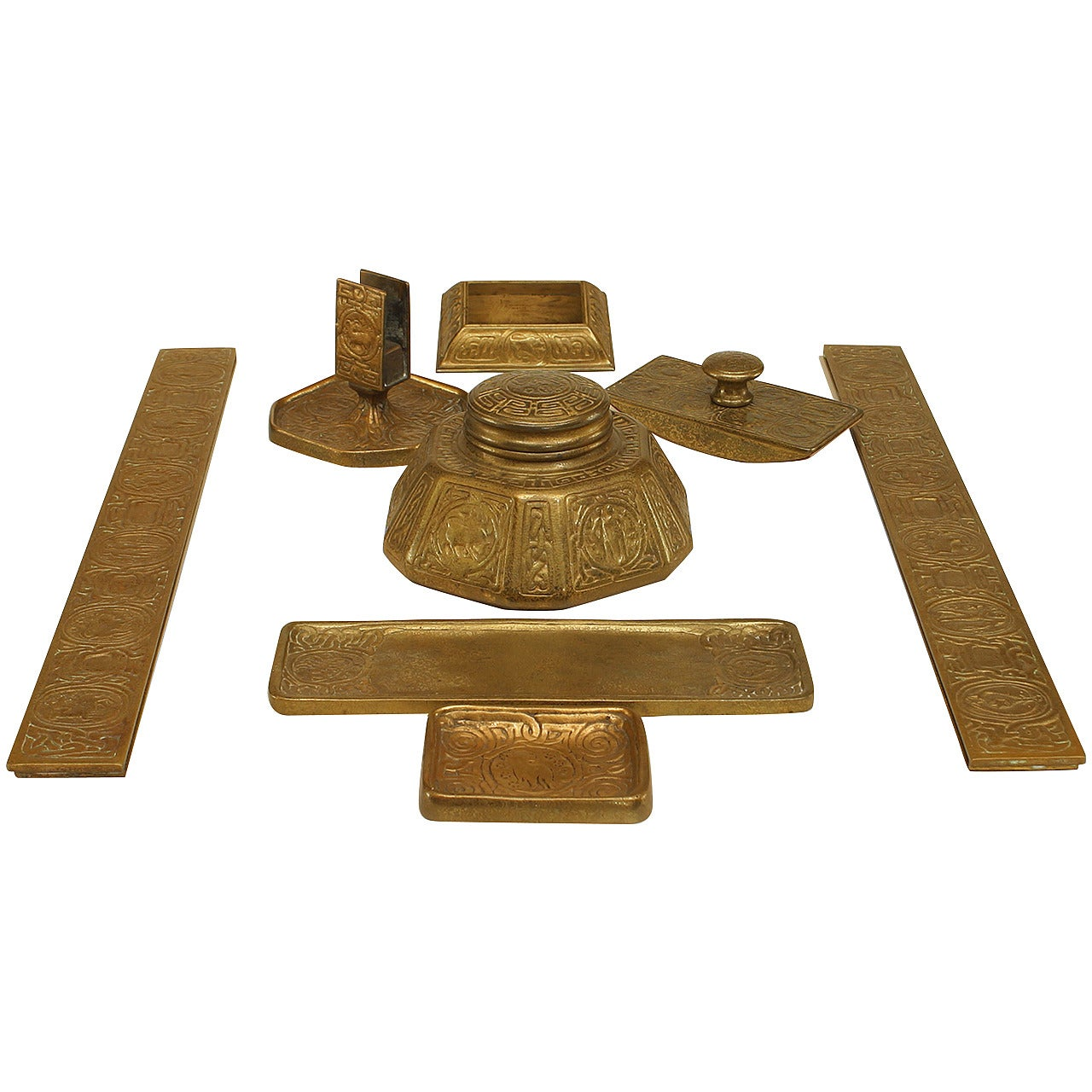7-Piece American Victorian Bronze Zodiac Desk Set