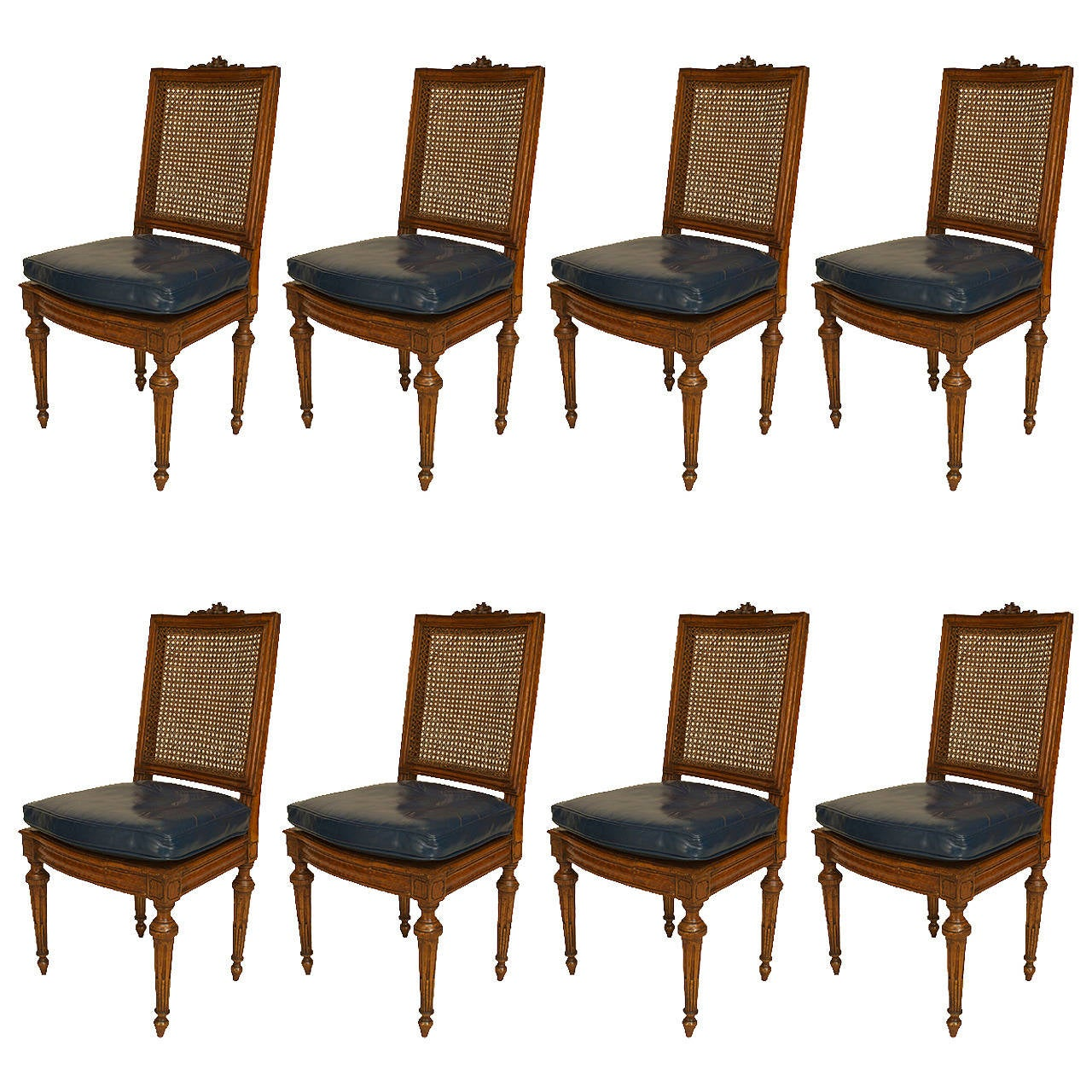 Set of Eight Late 18th Century Louis XVI Caned Beechwood and Leather Side Chairs