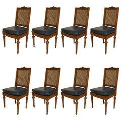 Set of 8 Louis XVI Beech Wood Side Chairs