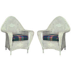 Pair of American Art Deco Painted Wicker Club Chairs