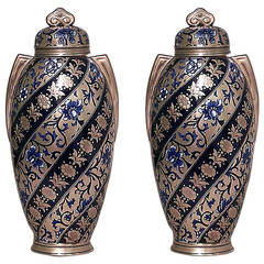 Pair of 19th Century English Swirled Coalport Porcelain Vases