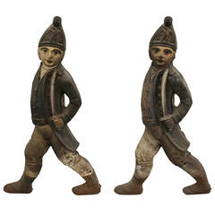 Pair of 20th Century English Georgian Style Soldier Andirons