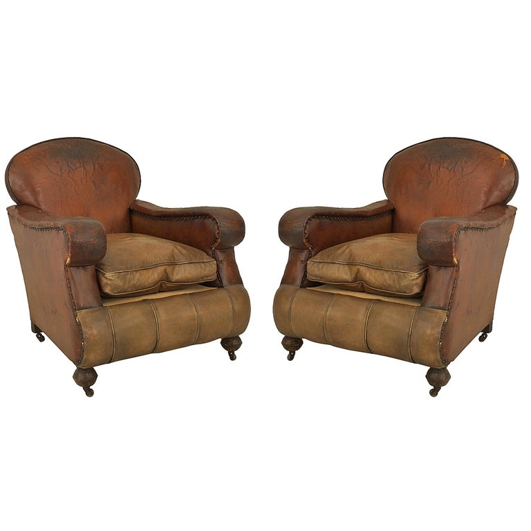 Pair of 19th Century English Oversized Brown Leather Club Chairs For Sale