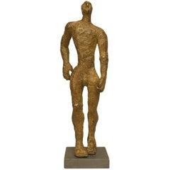 "American Carol Bruns Gold Patinated Bronze Sculpture ""Exiting Man,"" 2000"