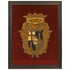 Framed English Renaissance Embroidered Crest