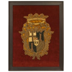 Framed English Renaissance Embroidered Crest