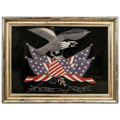 19th Century American Federal Style Silk Embroidered Bald Eagle and U.S. Motto