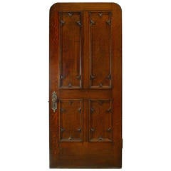 19th Century English Gothic Revival Paneled Oak Door