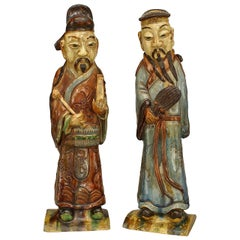 Pair of 19th Century Asian Porcelain Male Figures in Traditional Garb