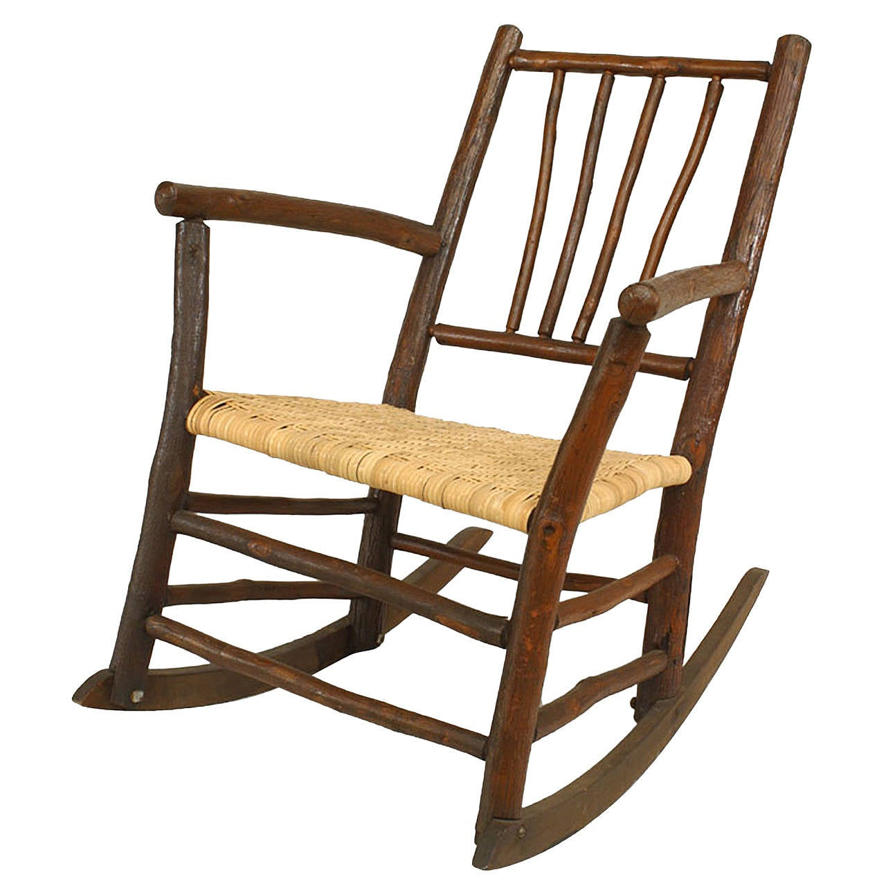 early 20th century american rustic old hickory rocking chair for sale at 1stdibs. Black Bedroom Furniture Sets. Home Design Ideas