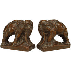 Pair of 20th Century Continental Bronze Elephant Bookends