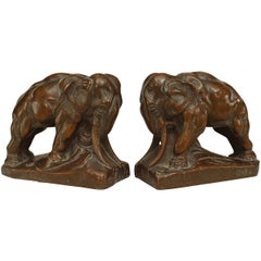 Pair of Continental Patinated Copper Elephant Bookends