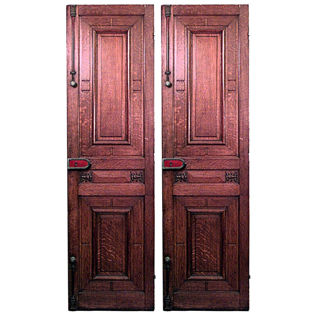 Pair of 19th Century English Carved Oak Panel Doors