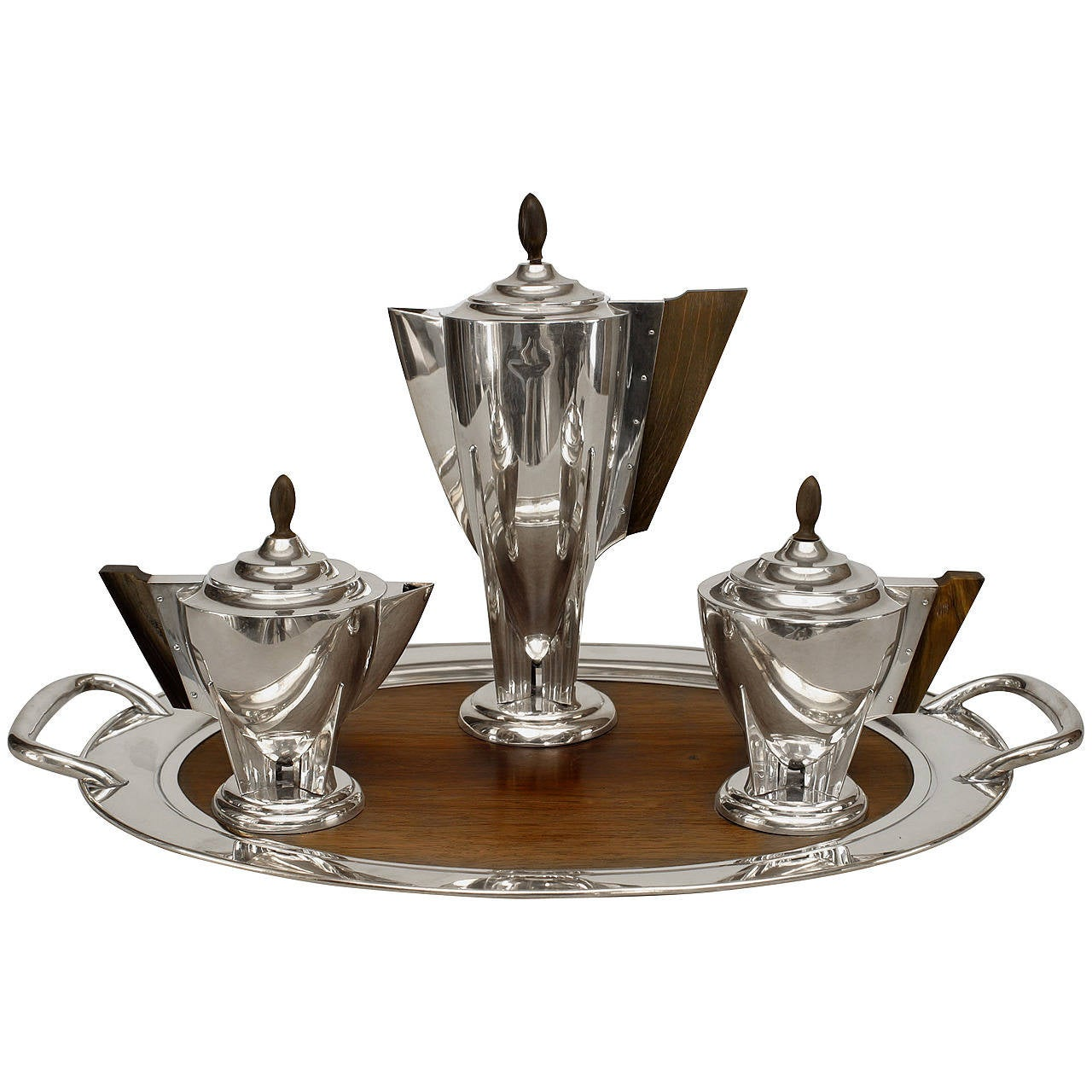 Four piece english art deco silver plate and rosewood tea for Deco appartement 1 piece