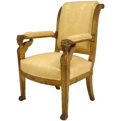 19th Century French Empire Gilt-wood Armchair with Sphinx Accents