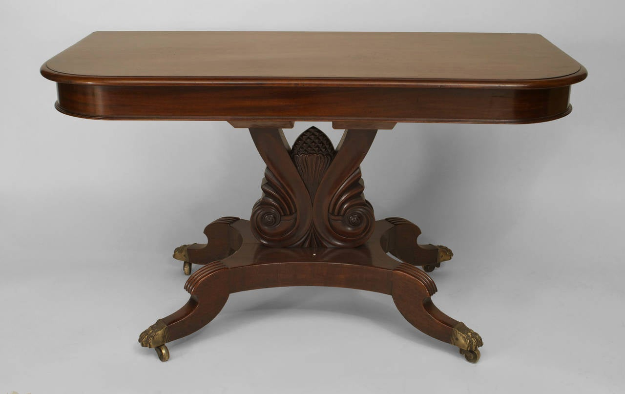 American Empire Extending Mahogany Dining Table For Sale