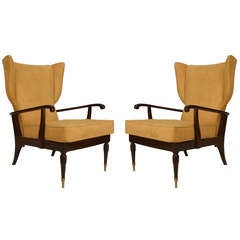 Pair of 1950s Paolo Buffa Mahogany Adjustable Wingback Chairs