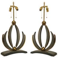 Pair of Mid-Century Modern Lotus Table Lamps