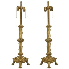 Pair of Brass English Renaissance Style Table Lamps