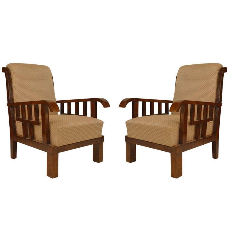 Pair of Lajos Kozma Art Deco Armchairs