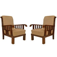 Pair of Lajos Kozma Upholstered Art Deco Armchairs