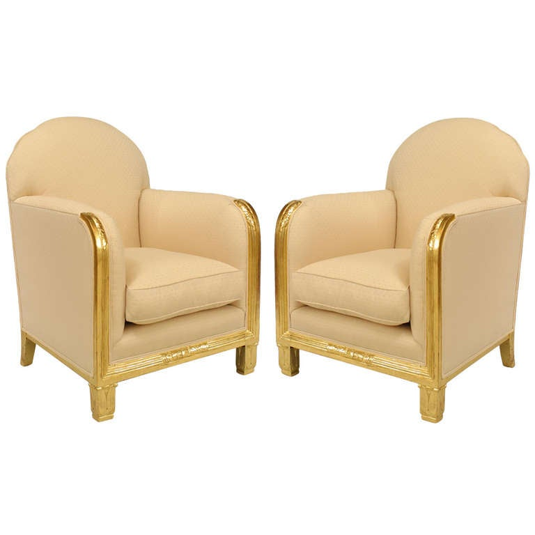 Pair of Maurice Dufrene Upholstered Gilt Wood Club Chairs
