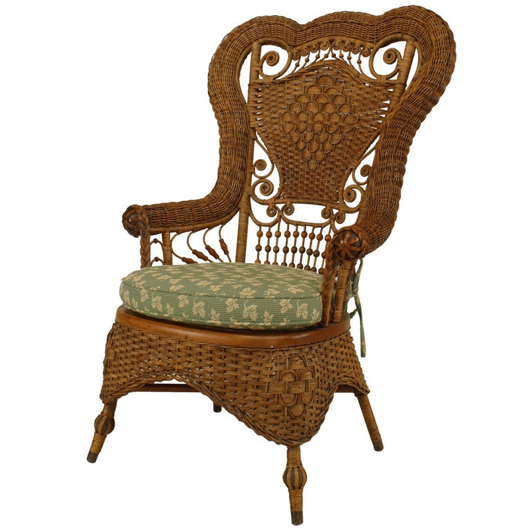 19th c. Whitney Reed High Back Wicker Armchair For Sale