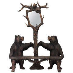 20th c. Black Forest Bear-Form Settee and Hat Rack