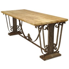 French Art Deco Marble Top Center Table with Iron Base