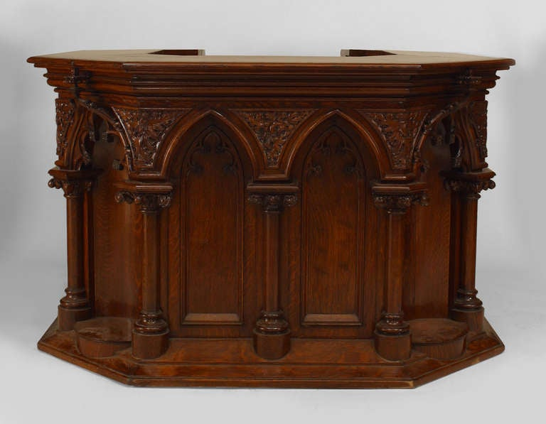 Late nineteenth or early twentieth century Gothic Revival oak pulpit  decorated with carvings inspired by medieval - Gothic Revival Carved Oak Pulpit Or Bar For Sale At 1stdibs
