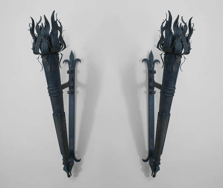Wall Sconces That Look Like Torches : Pair of Italian Renaissance Style Torch Sconces at 1stdibs